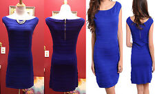 HOT Sweater royal blue mini zipper back Casual Party Women Ladies Dress size L