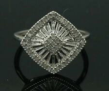 9Ct White Gold Art Deco Style Diamond(0.33ct) Cluster Ring (Size O) 16x16mm Head
