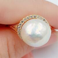 11x11mm White Baroque Pearl 18K Open Ring Adjustable Classic luxury Jewelry girl