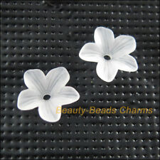100Pcs White Plastic Acrylic Flower Star Spacer End Bead Caps Charms 11mm