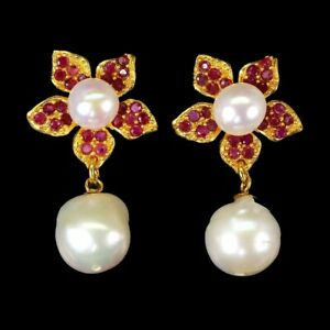 Baroque Pearl 13x12mm Ruby 14K Yellow Gold Plate 925 Sterling Silver Earrings