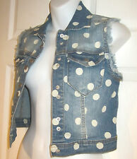 Fire LA Cropped Denim Vest sz XS faded blue & white polka dots