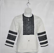 Linea by Louis Dell'Olio Cotton/Spandex Shirt w/Lace Trim Size S Ivory