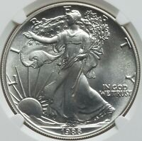 1988 $1 Silver Eagle NGC MS70 - smallest group of MS70s ever produced by NGC/PCG