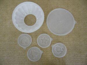 "Vintage Tupperware White 8"" Jello Gelatin Mold Jel-N-Serve w/ 4 molds"