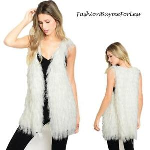 BOHO Ivory Faux Lamb Fur Shearling Sherpa Shaggy Fringed Vest Jacket Coat S M L