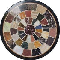 "18"" Marble Coffee Round Table Top Semi Precious multi Stones Inlay Marquetry Art"