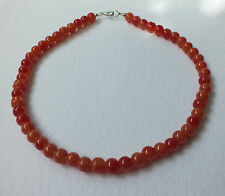 LIGHT ORANGE GLASS NECKLACE LOOKS LIKE CARNELIAN SILVER PL 16 INCH PRL