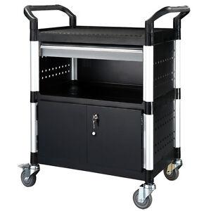Profi Servicewagen Werkstattwagen PC-Trolley mit Schublade und 2 Türen,  KR-450