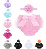 Girls Baby Bloomers Outfits Birthday Cake Smash Diaper Cover Headband Photo Prop