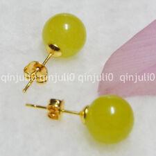 Pretty 10mm Jewelry Natural Peridot Jade Ball Gold Stud Earrings JE69