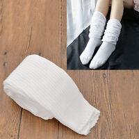 1 Pair Women High School White Bubble Loose Slouch Socks Winter Leg Warmer Cute