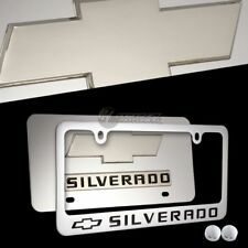 2PC Chevrolet Silverado Mirror Stainless Steel License Plate Frame -Front & Back