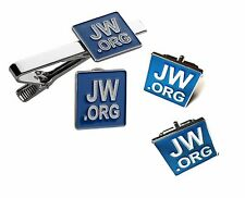 JW.ORG TIE CLIP, LAPEL PIN AND CUFFLINKS SET SQUARE WITH GIFT BOX