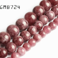 Natural Purple Lepidolite Stone Round Beads for Jewelry Making 15'' 12mm
