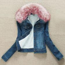 Ladies Fleece Lined Sherpa Denim Jacket Faux Fur Pink Collar Slim Fit Top Coat