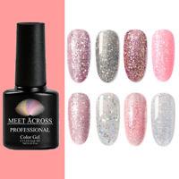 MEET ACROSS Nail Gel Nail Polish UV LED Varnish Soak Off Glitter Colours 7ml