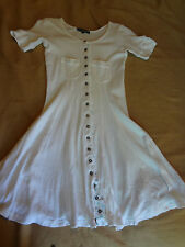 Vintage Betsey Johnson Early 90s White Short Dress Super Soft 100% Cotton