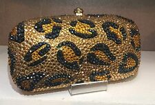 NIB Crystal Evening Bag Clutch Hand Bag made with Swarovski Elements Leopard