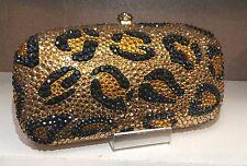 NIB Crystal Evening Bag Clutch Hand Bag made with Swarovski Elements Leopard