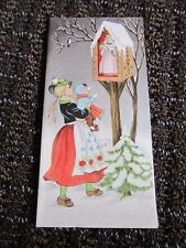 Vintage Christmas Card Traditional German Girl Tree Shrine Unused Free Ship