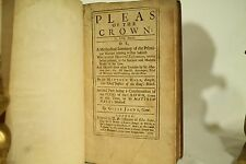 rare antique old leather Law book Pleas of the Crown 1716 Witch trials Sheriffs