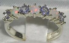 Sterling Silver Tanzanite Eternity Anniversary Fine Gemstone Rings