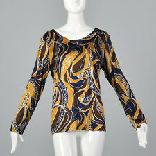 XL 1970s Long Sleeve Knit Top Psychedelic Print Casual Pull Over 70s Boho VTG