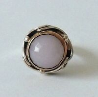 925 STERLING SILVER HAND CRAFTED PINK ROSE QUARTZ RING size S
