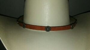 BRAND NEW  Western Rodeo Cowboy Conchos Hat Brown Leather Band Size 7 1/4 JF432