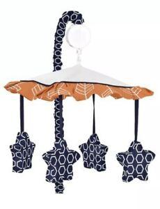Sweet Jojo Designs Musical Mobile Navy Blue White Orange Nib