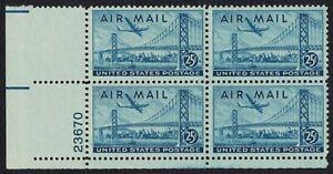 #C36 25c San Francisco Bay Bridge, Plt Blk [23670 LL] Unused **ANY 4=FREE SHIP**