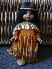 """One of a Kind  Hand Beaded Native American Girl In Buckskin Doll - 14"""""""