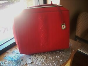 Estee Lauder Makeup Cosmetic Bag TRAIN CASE Faux Leather RED 2019 NEW