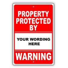 Warning Property Protected By Personalized Gun Name Novelty Aluminum Metal Sign