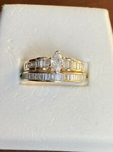 6.6g 18K & 14K Yellow Gold 1.0 TCW Marquise & Baguette Diamond Wedding Set Sz 10