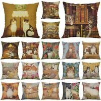 "18"" Cartoon Cat Cotton Linen Pillow Case Throw Cushion Cover Vintage Home Decor"
