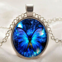 Vintage Butterfly blue Cabochon Silver plated Glass Chain Pendant Necklace hs