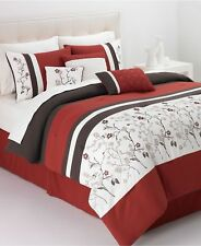 Hallmart Collectibles Bella Donna 6 Pc King Comforter Set Embroidered Red $200