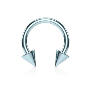 PAIR Titanium Spiked Circular Barbells Horseshoe Septum, Eyebrow, Nipple Rings