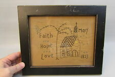 "Antique 1823 MIDWEST Cross Stitch Folk Art Needlepoint framed glass 12"" x10"""