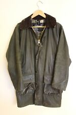 BARBOUR Mens Vintage Border Long + Hood Waxed Cotton Green Jacket Small C34 86cm