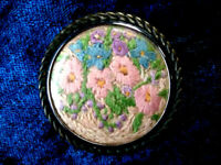 Outstanding Vintage Hand Embroidered Brooch ~ Overflowing Flower Basket