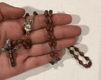 """Vintage Rosary Sterling Silver Italy Religious Crucifix Antique Carved Beads 16"""""""
