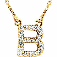 "14K Gold Diamond B Initial Letter Charm Pendant with 18"" Rolo Chain Necklace"