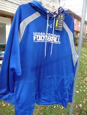 New Under Armour FOOTBALL Blue Hoodie Gray sweatshirt loose fit coldgear Men XL