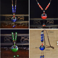 Vintage Ceramics Beads Pendant Ethnic Long Necklace Chain Fashion Jewelry Gifts