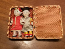 VINTAGE Antique Pair Hand Painted Porcelain Chinese Dolls in Woven Basket