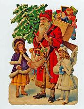 Weihnachtsmann Nikolaus mit Engel Viktorianische Schmuckkarte Glanzbild 5155