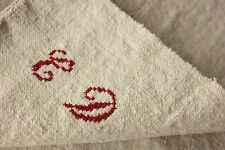 Antique French hand guest kitchen towel CD monogram linen c1900 washed